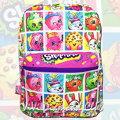 "Shopkins Girl's Kids 16"" Large School Book Backpack All Over Print Canvas Bag PF"