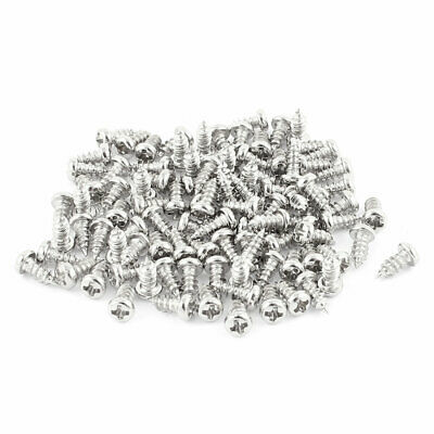 100 Pcs M2.5x6mm Stainless Steel Phillips Round Head Self Tapping Screws Bolts