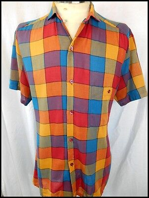 Vintage 1980s 'Cuggi' Bright Multi-Coloured Short Sleeve Cotton Summer Shirt M