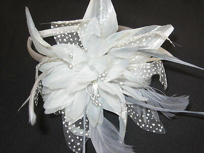 Silver Grey Flower & Feather Fascinator Aliceband Headband with Dotted net petal