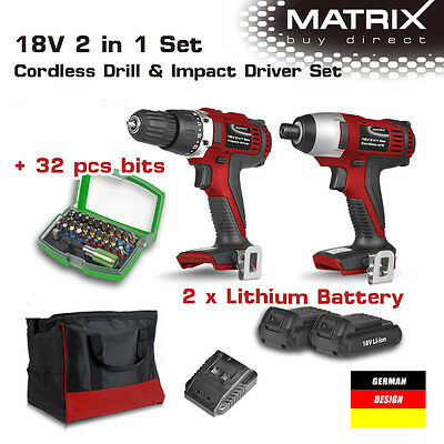 NEW MATRIX 18v Lithium Cordless Drill Impact Driver Set 2 Battery Charger 32Bits