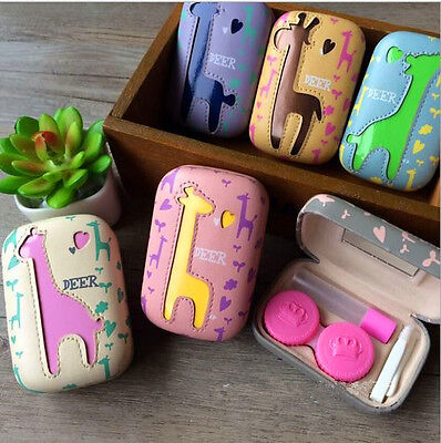 Cartoon Contact Lens Case Protable Contact Lens Travel Kit Holder with Mirror