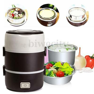 2L 3 layer Portable Electric Lunch Box Mini Rice Cooker Stainless Steamer Pot