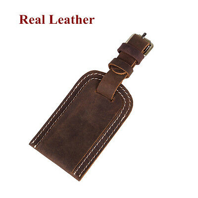 Real Leather Travel Luggage Tag Suitcase Label Address ID Holiday Tags