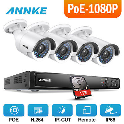 ANNKE 1080P 4CH Network 6MP NVR Digital WDR Security Camera System 2MP Video 1TB