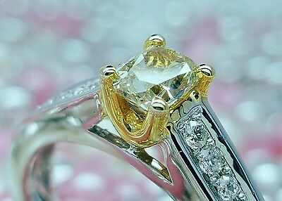 18K Solid Gold Yellow Diamond Engagement Ring