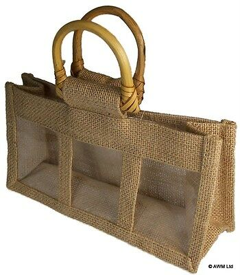 10x Three Jar Jute Bag Natural Gift Bags With Handles & Window For Any Occasion