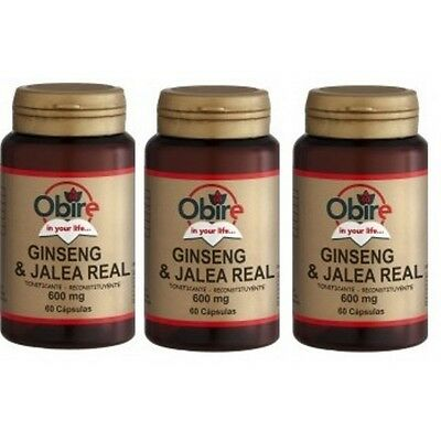 NSalut - Ginseng + Jalea Real 600mg 60 CAPS. Obire. Pack 3 unidades.