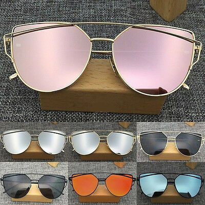 Women's Vintage Fashion Mirrored Flat Lens Oversized Metal Frame Sunglasses