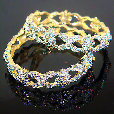 Indian Jewelry 2PC Ethnic Fashion AD Silver Gold Plated Bollywood Bangles Set