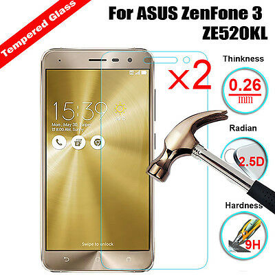 2Pcs 9H Tempered Glass Film Screen Protector Guard For ASUS ZenFone 3 ZE520KL