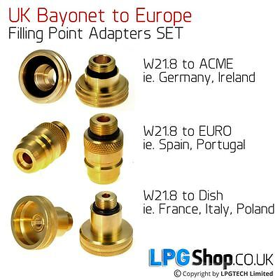 UK Bayonet (W21.8) to All Europe Adapters SET Autogas LPG