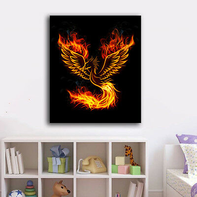 Abstract Fire Phoenix Stretched Canvas Prints Framed Wall Art Home Decor Gift II