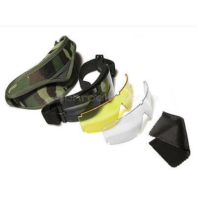 USMC X800 CS Airsoft Tactical Goggles Glasses Eye Protection Mask with 3 Lenses