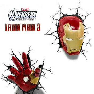 COMBO Marvel Avengers Iron Man MASK and HAND 3D Deco Light Wall Night LED Lamp