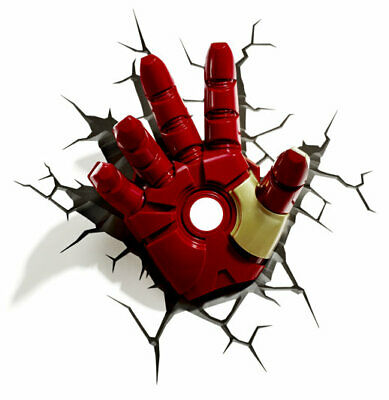 Marvel Avengers Iron Man Hand 3D Deco Light Ironman Wall Night LED Lamp for Kids