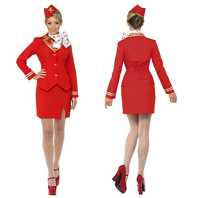 Smiffy's Womens Trolley Dolly Stewardess Costume Ladies Air Hostess Fancy Dress