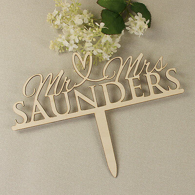 Mr and Mrs Personalised Wedding Cake Topper Heart White
