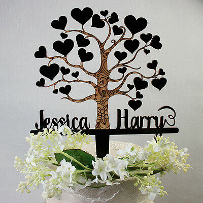 LARGE Love Tree Wooden Anniversary Cake Topper Wedding Bride and Grooms Name