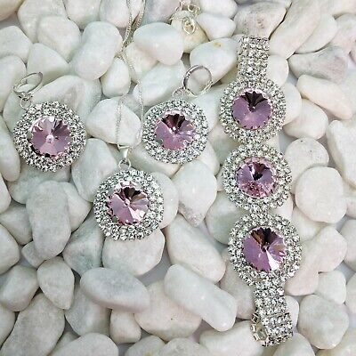 Silver Plated Pink And White Cubic Zirconia Necklace, Bracelet And Earrings Set