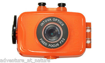 Intova Duo Compact Digital Camera With Orange Waterproof Housing For Water Sport