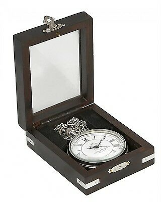 Nickel Decorative Pocket Watch with Chain In Wooden Display Case
