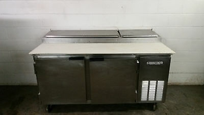 """Beverage Air 67"""" PT67 Refrigerated Raised Rail Pizza Prep Table 2 Door Tested"""