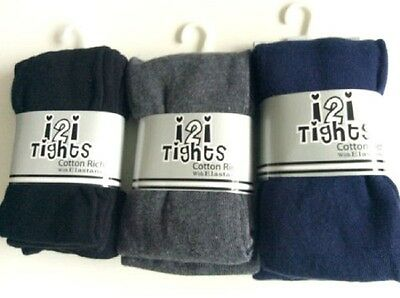 Girls Cotton Rich School Tights  Age 3 - 12 Yrs Black Blue Grey