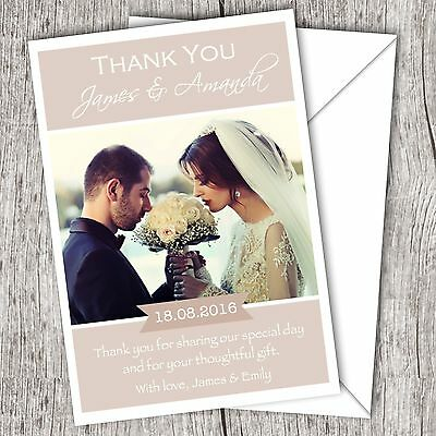 Personalised WEDDING Thank You Cards • Your Photo • Inc. Envelopes (DD1)