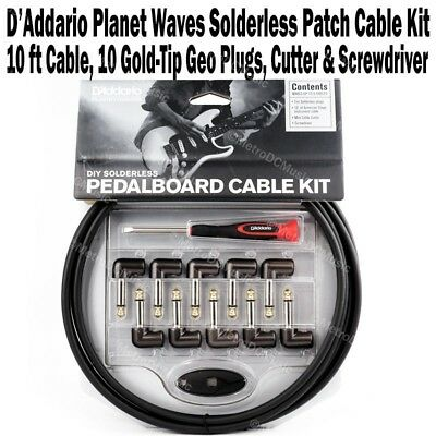 Planet Waves DIY Solderless Pedalboard Cable Kit Guitar Patch 10 6 D'Addario NEW