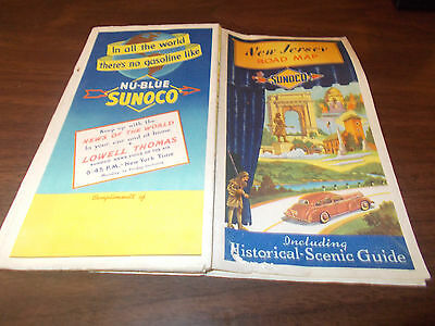 1941 Sunoco New Jersey Vintage Road Map