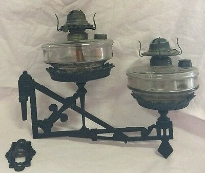 Cast Iron Eastlake Arts Crafts Era Oil Kerosene Lamp Wall Holder 2 Glass Lamps