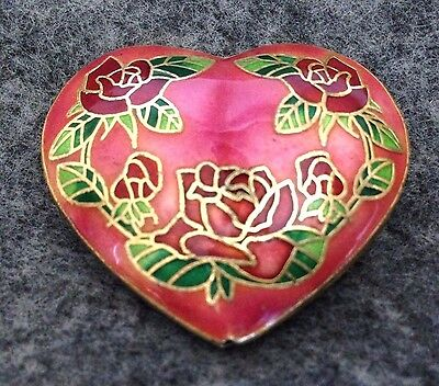 Cloisonné Enamel & GP Brass, Pink & Multicolor Heart Bead, 40mm x 36mm, 2-sided