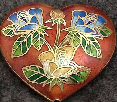Cloisonné Enamel & GP Brass, Red & Multicolor Heart Bead, 40mm x 36mm, 2-sided