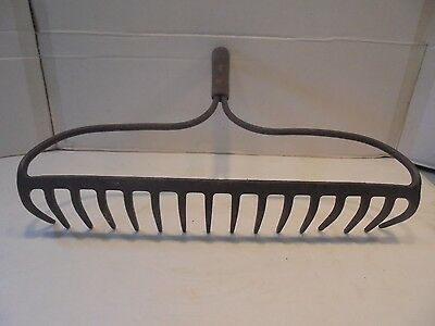 Antique 16 Tine Iron Garden Rake Head Jewelry Rack Crafts Steampunk Decor 17""