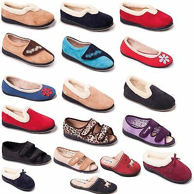 Slippers Womens Ladies Padders Slip On Mule BEIGE NAVY RED SIZE 3 4 5 6 7 8 9 UK