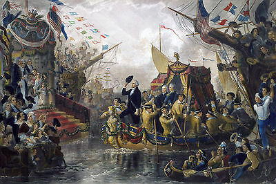 Large Arrival Of George Washington New York Battery Painting Canvas Art Print