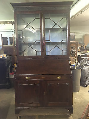 Antique Late 18th Early 19th Cent Slant Front Secretary Bookcase Blue Lined Back