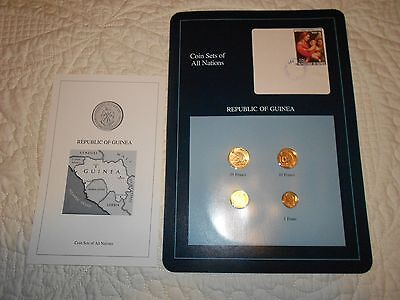 COIN SETS OF ALL NATIONS-Republic of Guinea-1985-1987-4 Coins with info card