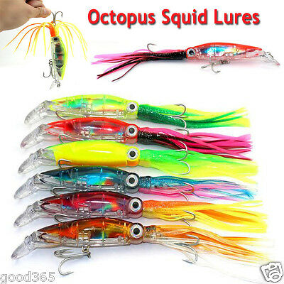 1PCS Octopus Squid Lures Jig Soft Fishing Lure Hook Shrimp Tackle Fish Tool 14cm
