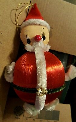 Vintage Spun Cotton Head Pipe cleaner and felt w/red satin ball body - Japan