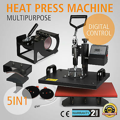 5 in 1 Heat Press Machine Digital Transfer T-Shirt Sublimation Mug Hat Plate Cap