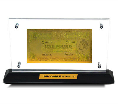 Acrylic Frame Pre Decimal One Pound Bank Note 24Kt Gold Limited Edition Colour