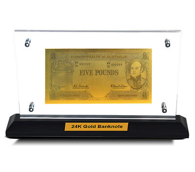 Acrylic Frame Pre Decimal Five Pound Bank Note 24Kt Gold Limited Edition Colour