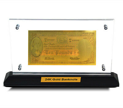 Acrylic Frame Pre Decimal Ten Pound Bank Note 24Kt Gold Limited Edition Colour