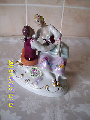 Vintage Royal Dux Bohemian Porcelain Figurine Of A Seated Couple