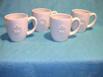 Simply Shabby Chic Mugs Chateau Design, Set of Four Very Nice Stoneware