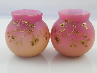 C.1890 Pr Of Victorian Webb Peachblow Cased Satin Glass Vases With Gilt Decorati