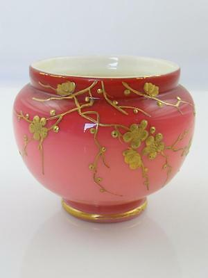 Victorian Webb Cased Peachblow Glass Hand Gilded & Decorated Pot