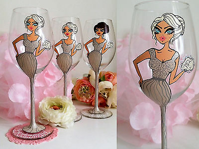 Hand Painted Personalised Wine Glass Gift Godmother Daughter Sister Bridesmaid